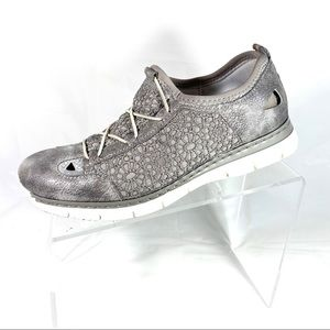 Rieker Sneakers Gray Leather Size EUR 39 US 8